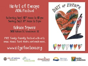 """HeArt Of Europe Festival"" – Robson Square, Vancouver, 10th & 11th Sep, 2016"